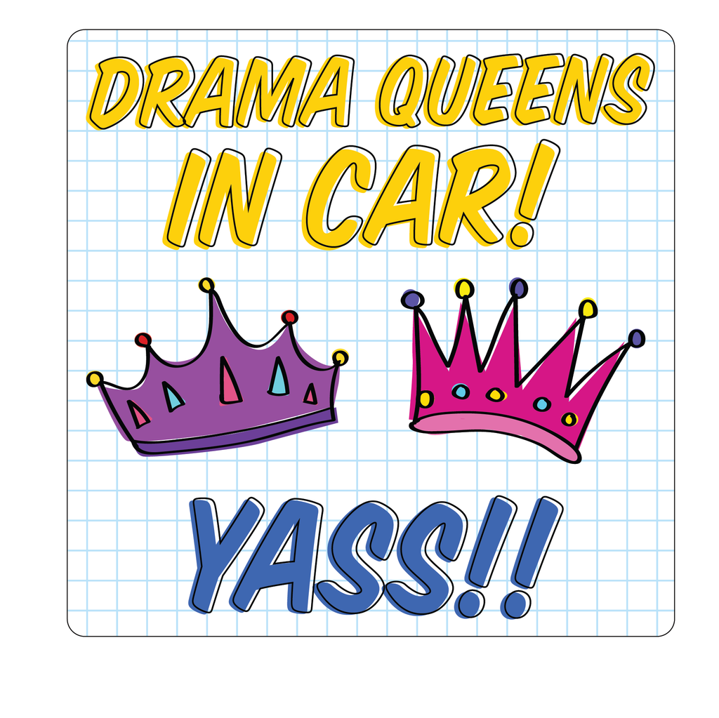 Drama Queens In Car Decal (2 Pack)