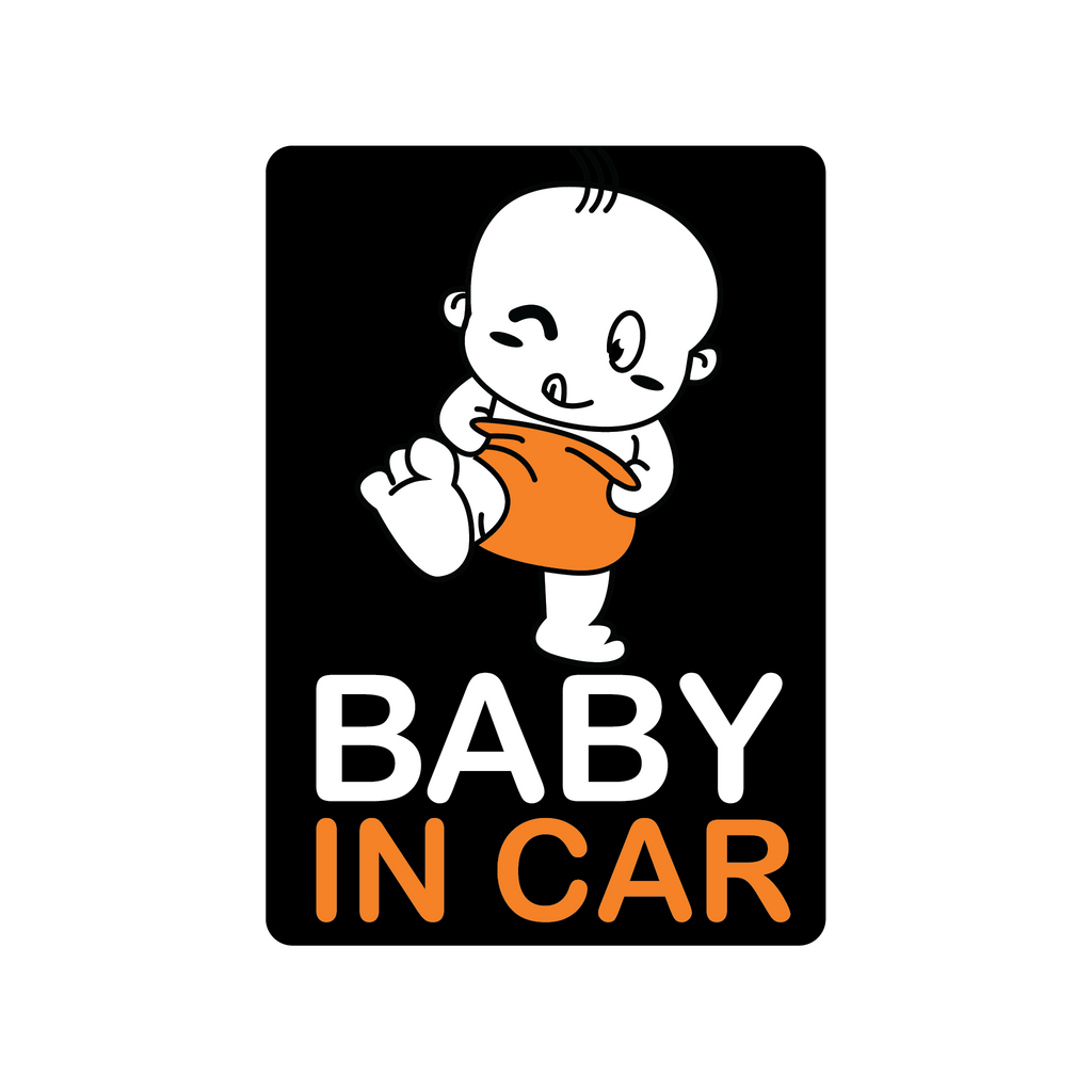 Orange Diaper Baby Car Decal (Two Pack)