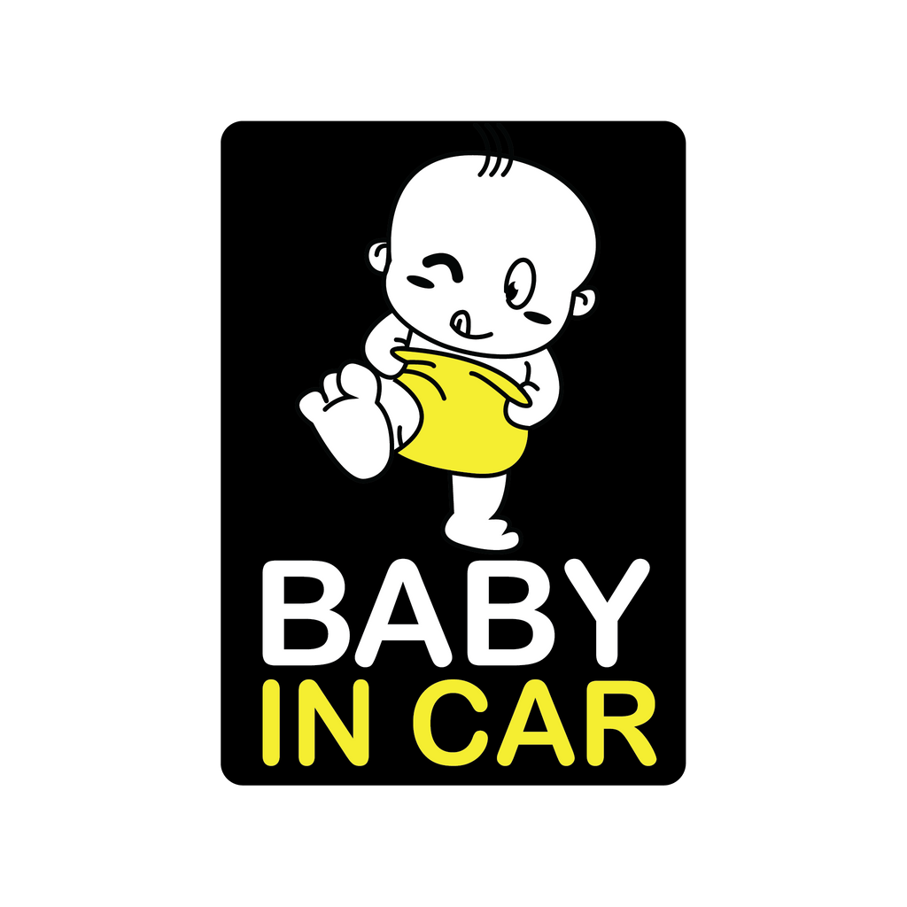 Yellow Diaper Baby in Car Decal (Two Pack)