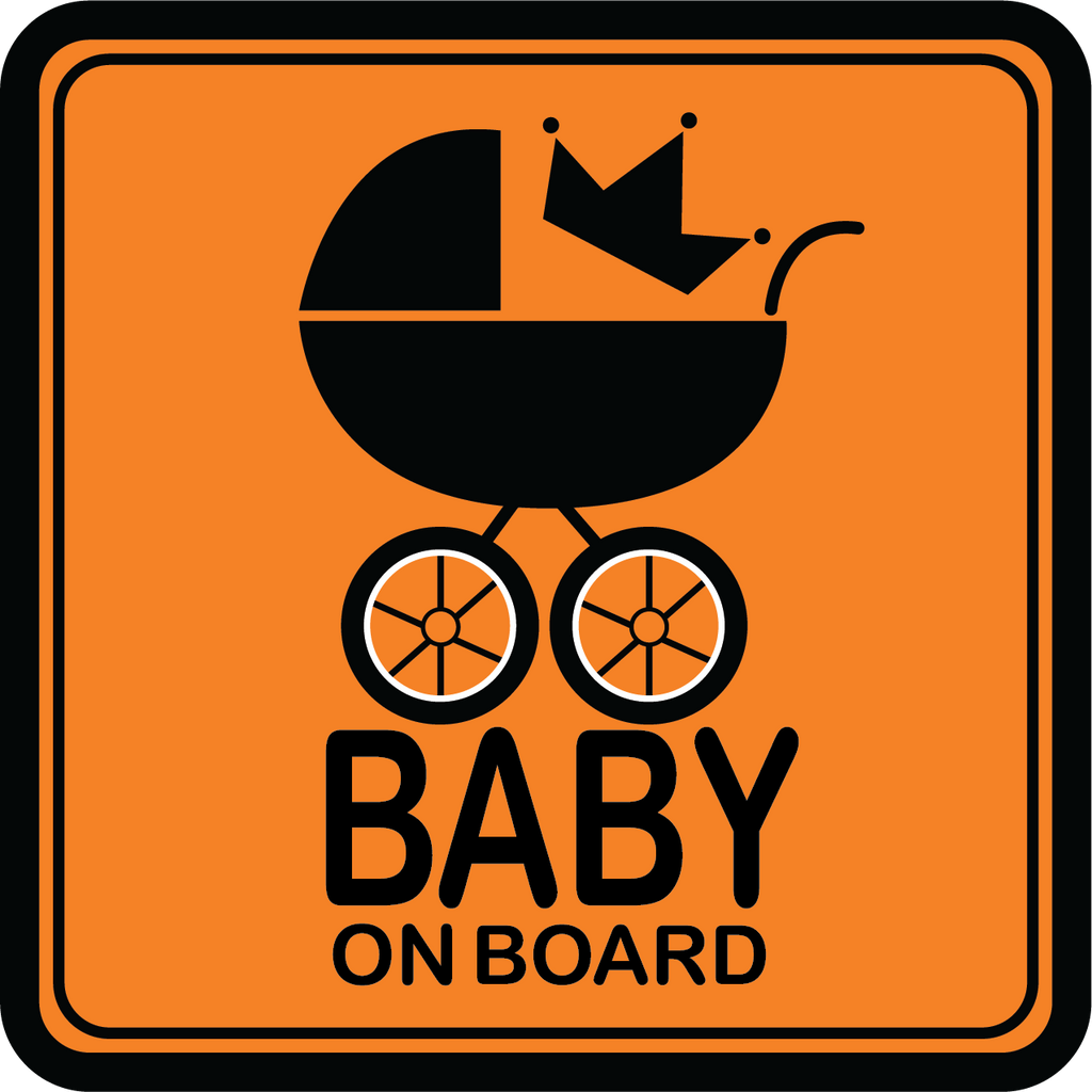 Orange Baby on Board Carriage Car Decal (Two Pack)