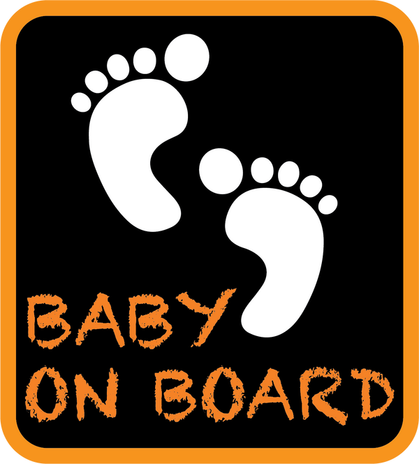 Orange Baby on Board Feet Car Decal (Two Pack)