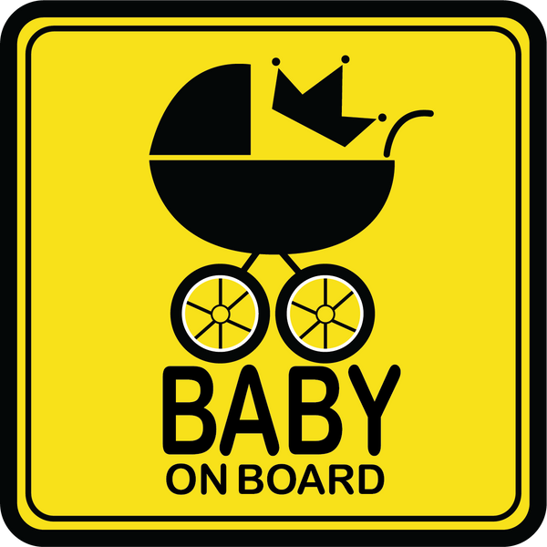 Yellow Baby on Board Carriage Car Decal (Two Pack)