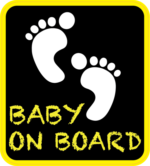 Yellow Baby on Board Feet Car Decal (Two Pack)