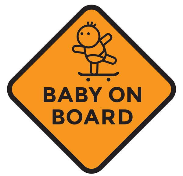 Skater Baby on Board Window Car Decal (Two Pack)