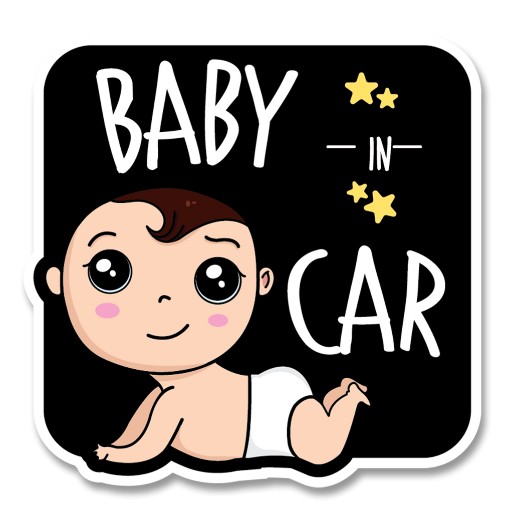 Crawling Baby in Car Decal (Two Pack)
