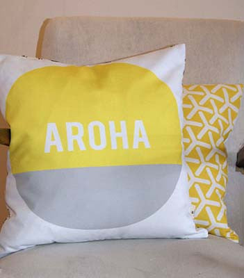 Empire eco designs GOTS organic fabric cushion in yellow