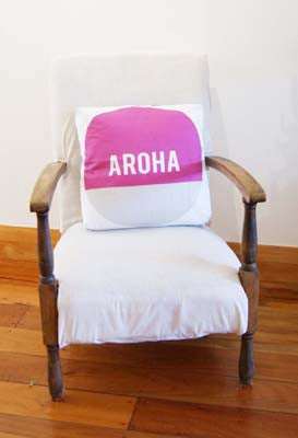 Aroha Cushion Cover - Pink/Grey