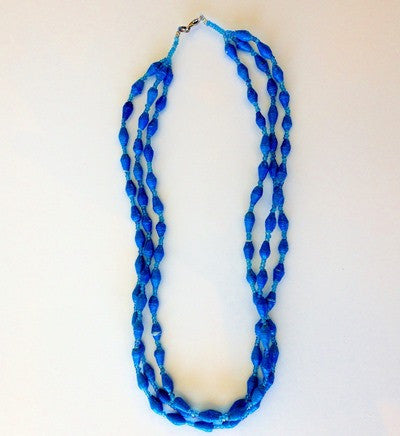 Triple Strand Necklace - Bright Blue