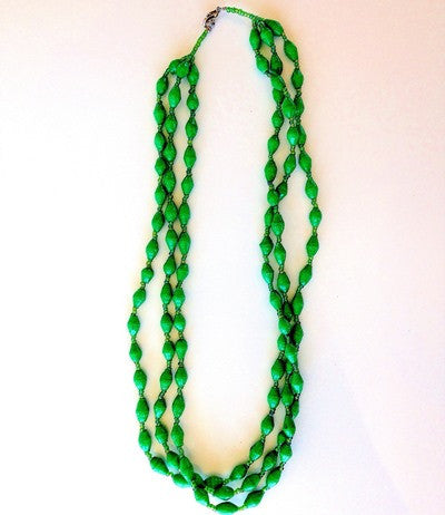 Triple Strand Necklace - Bright Green
