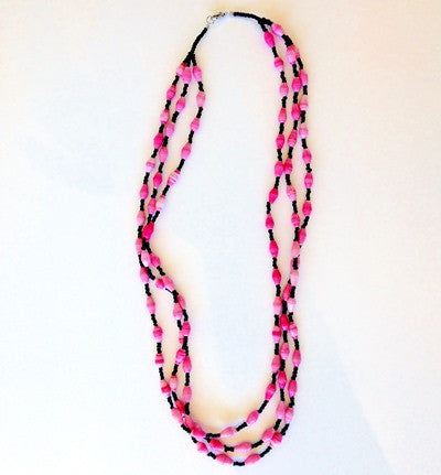 Triple Strand Necklace - Pink