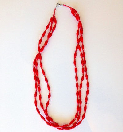 Triple Strand Necklace - Red