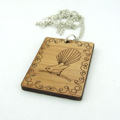 Bamboo fantail necklace handmade in NZ from sustainable bamboo