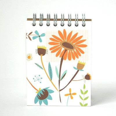 Ecojot: eco friendly mini notepad orange and blue flowers