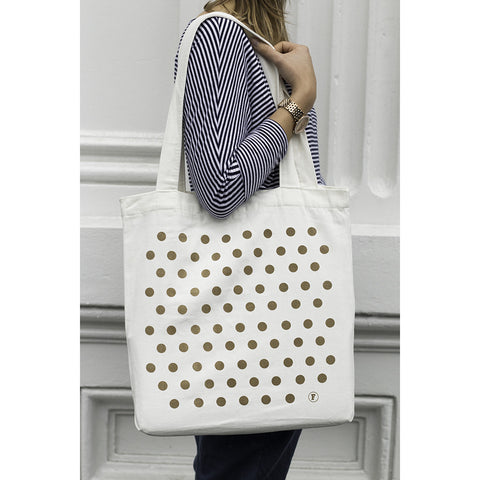 Frank gold polka dot tote bag