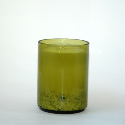 Recycled Wine Bottle Candle - Green Glass