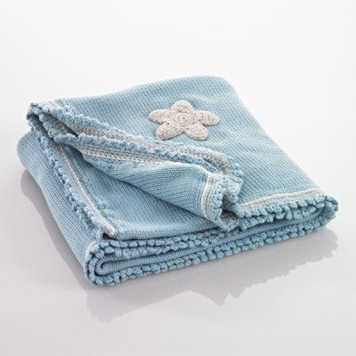 Organic Baby Blanket - Duck Egg Blue with Stars