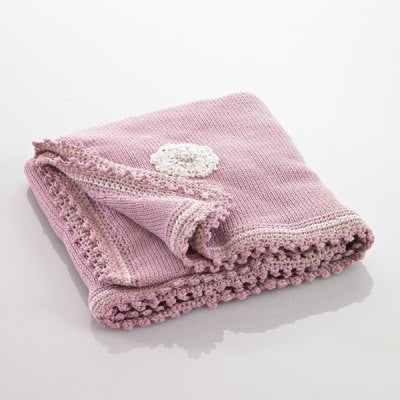 Organic Baby Blanket - Dusky Pink with Flowers
