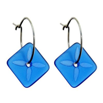 Square Tapa Earrings - Dark Blue