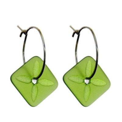 Square Tapa Earrings - Green