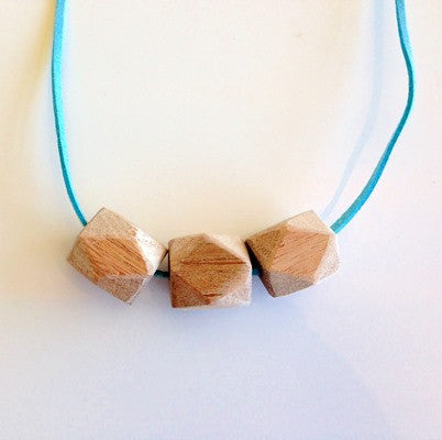 TreeHorn 3 Bead Necklace - Turquoise