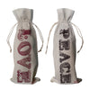Love and peace linen winebags