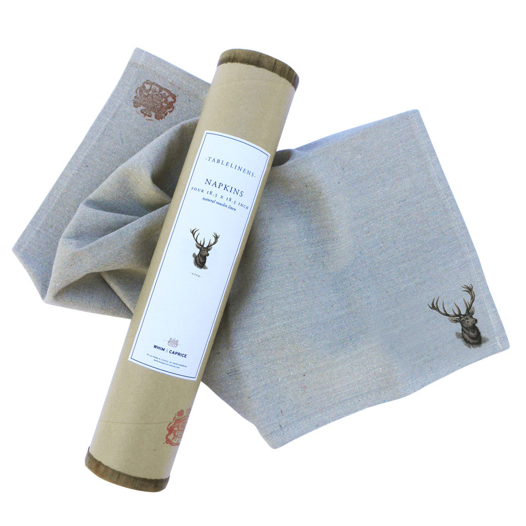 Stag napkins by Whim & Caprice