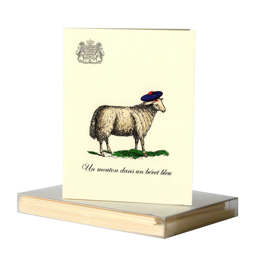 Sheep in a bleu beret notecards by Whim & Caprice