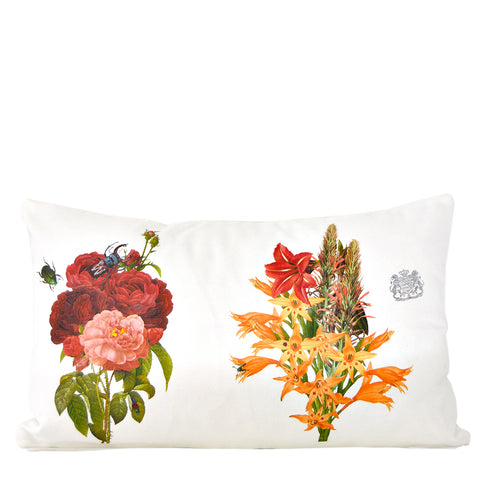 Red and Orange Flowers - Lumbar Pillow