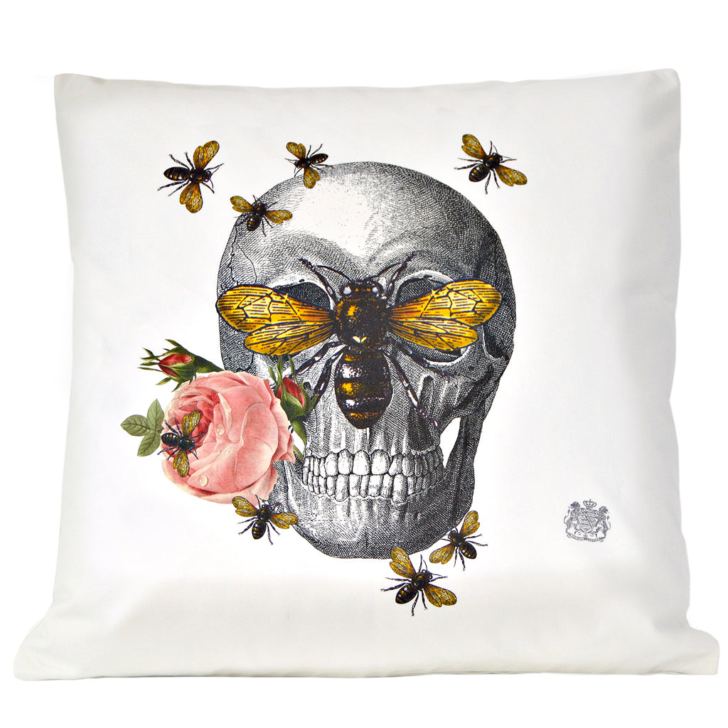 Skull with Bees Pillow