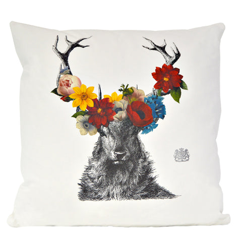 Stag with Flowers Pillow