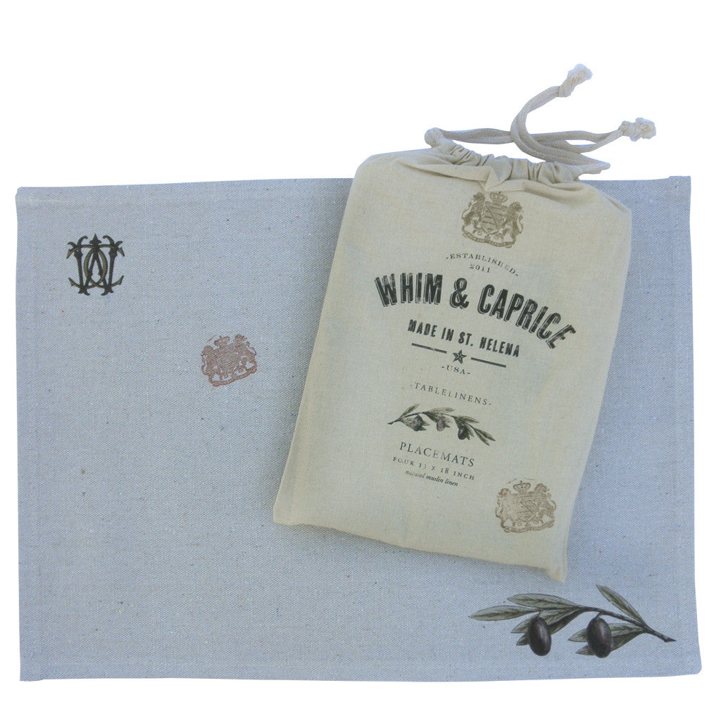 Olive branch placemats by Whim & Caprice