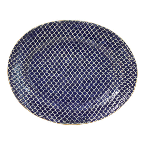 Terrafirma Medium Oval Platter in Cobalt Taj