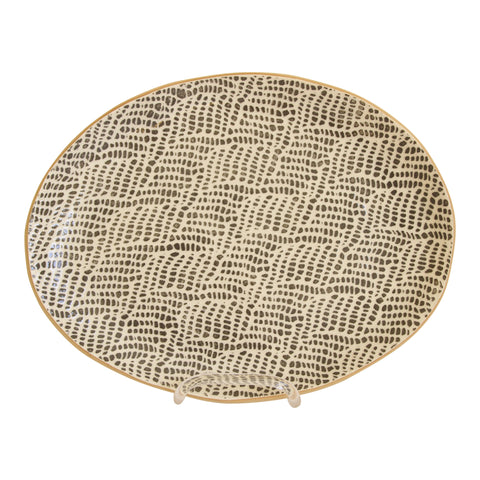 Terrafirma Oval Platter in Charcoal Braid