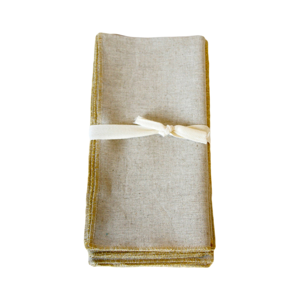 Linen Napkin with Gold Accent (Set of 4)