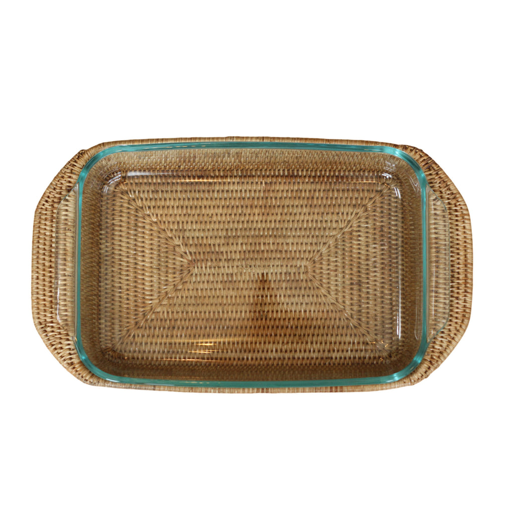 Rattan Rectangle Baker with Pyrex
