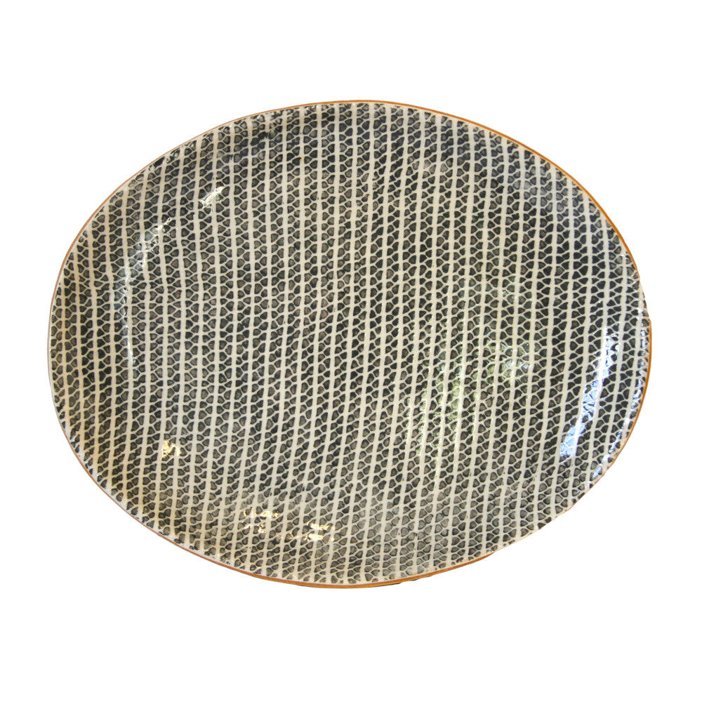 Small Oval Platter in Charcoal Strata