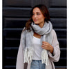 Blissful Soft Felt Fringe Scarf - Grey