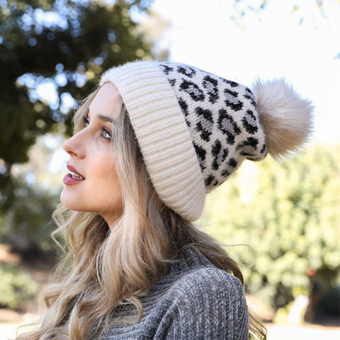 Blissful Grey Leopard Print Toque
