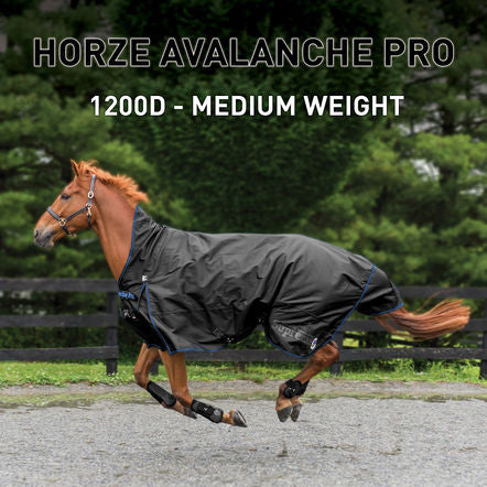 Horze Mid Neck Avalanche 1200D 150g Turnout - Black