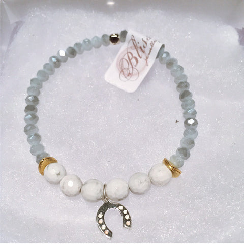 Howlite Stone Bracelet with Sterling Silver Horseshoe