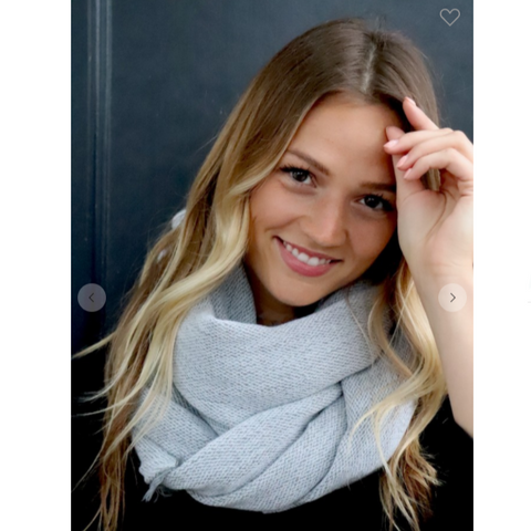Blissful Knit Infinity Scarf - Light Grey