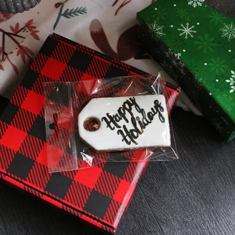 Happy Holidays Tag Cookie