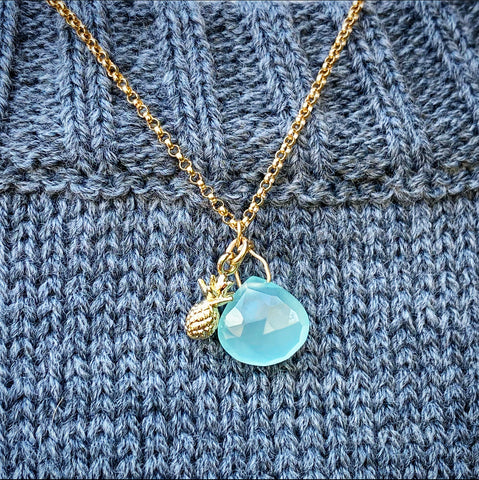 14k Gold Filled Pineapple with Aqua Chalcedony Stone Necklace