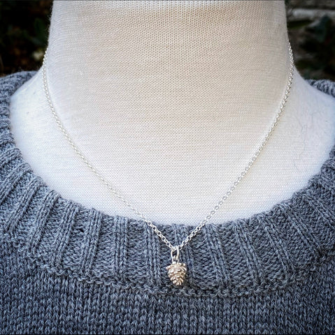 Solid Sterling Pine Cone Necklace