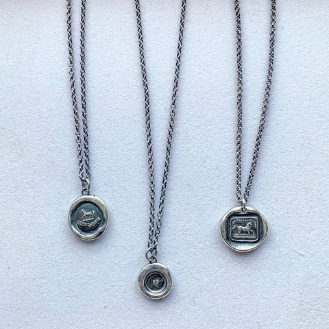 Sterling Silver Wax Seal Necklace