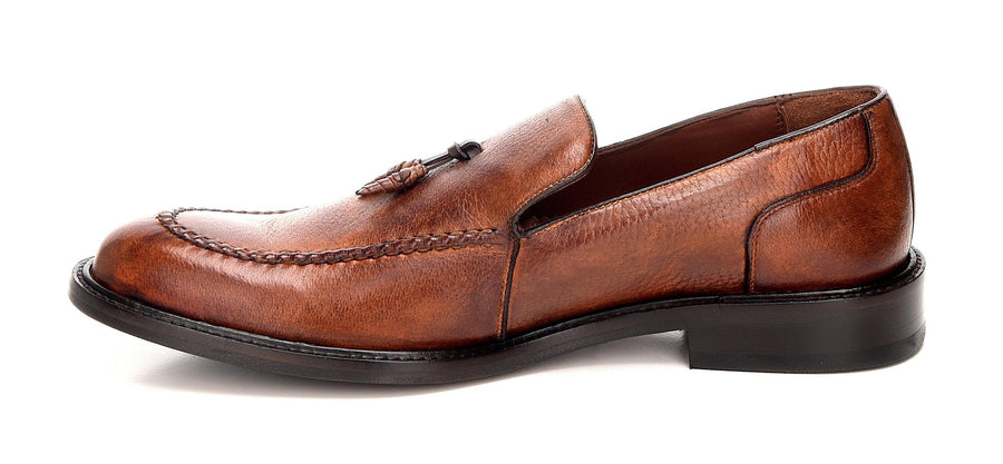Unique Cuadra men's slip on brown shoes handmade of soft deer leather in Vancouver and Canada