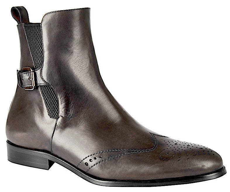 Versatile and fashionable Cuadra handmade men's gray calfskin ankle boots with wingtip, medallion, outside elastic and inside zip in Vancouver and Canada