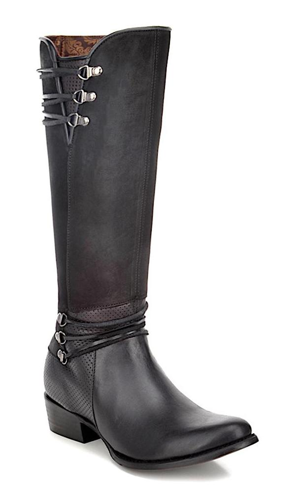 Elegant Cuadra handmade black leather western riding women's boots in Vancouver and Canada