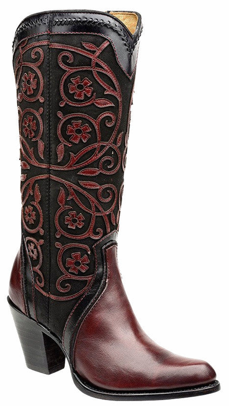 Cuadra women's western cowgirl boots handmade of wine burgundy and black leather with floral overlays