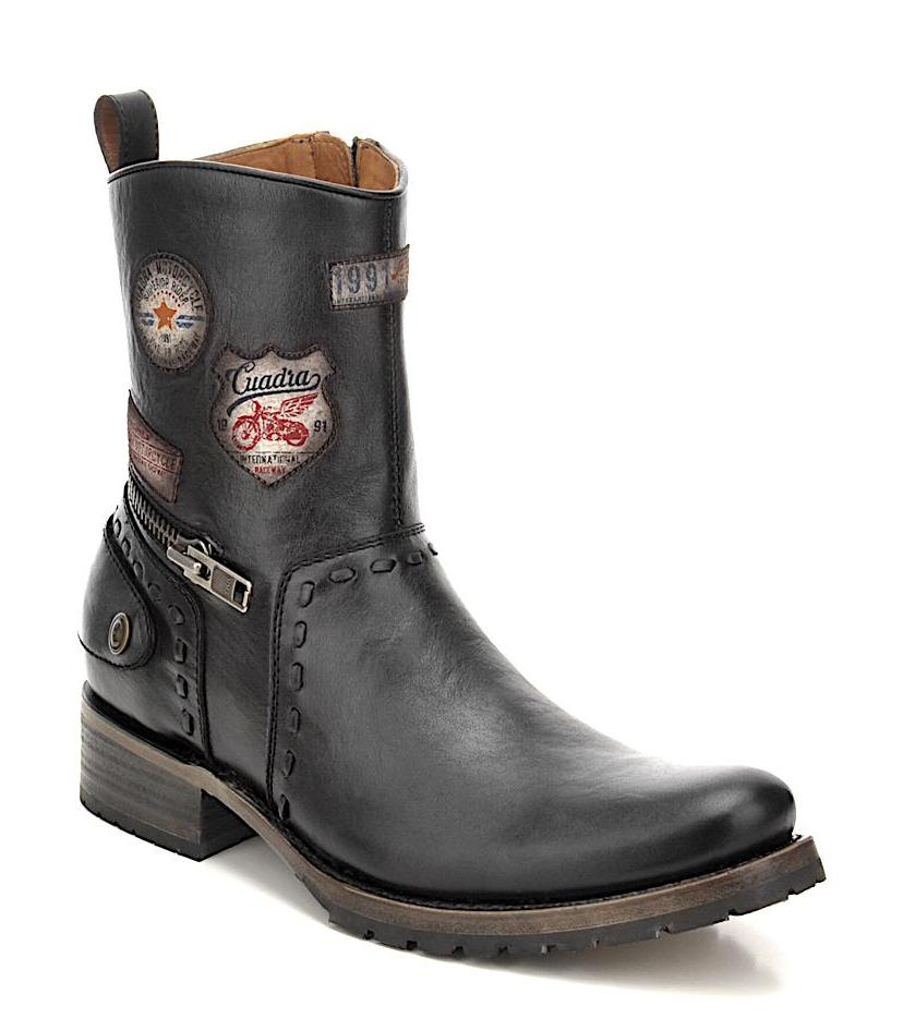 Unique Cuadra emblems handmade men's black leather biker boot in Vancouver & Canada